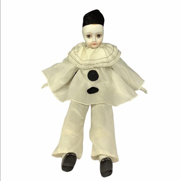 """Vintage Porcelain Harlequin Crying Clown Doll 19"""""""